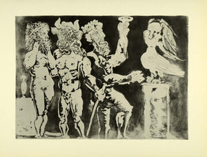 1956 Print Pablo Picasso Two Men Minotaur Sculpted Bird Nude Abstract Modern Art
