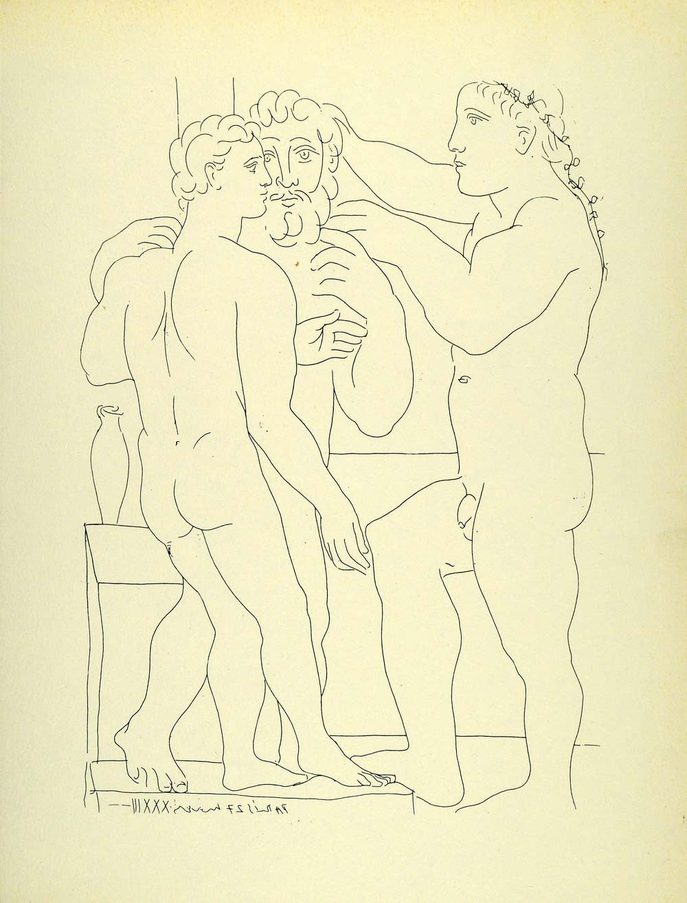 1956 Print Pablo Picasso Three Nude Men Standing Etching Suite Vollard Modern - Period Paper