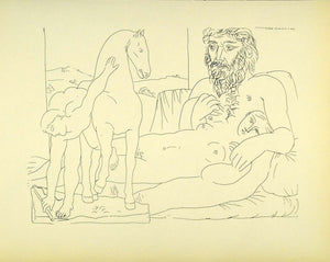 1956 Print Pablo Picasso Nude Sculptor Reclining Female Sculpture Boy Horse Art - Period Paper
