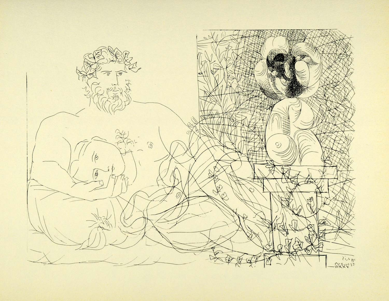 1956 Print Pablo Picasso Nude Figures Sculptor Reclining Model Sculpture Lovers