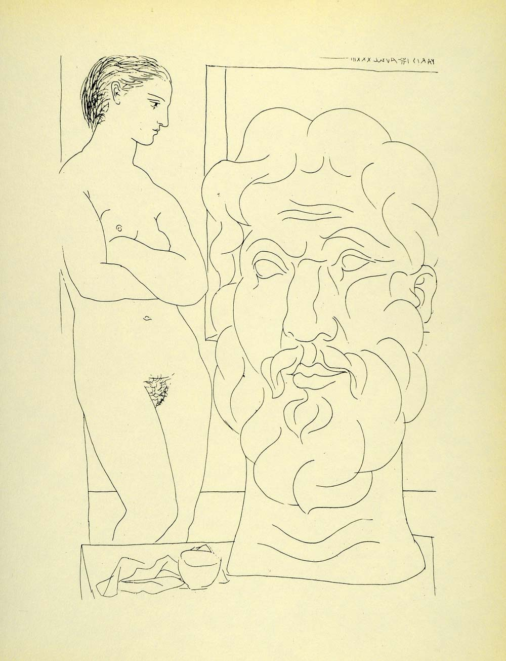 1956 Print Pablo Picasso Nude Female Model Sculptured Head Abstract Modern Art