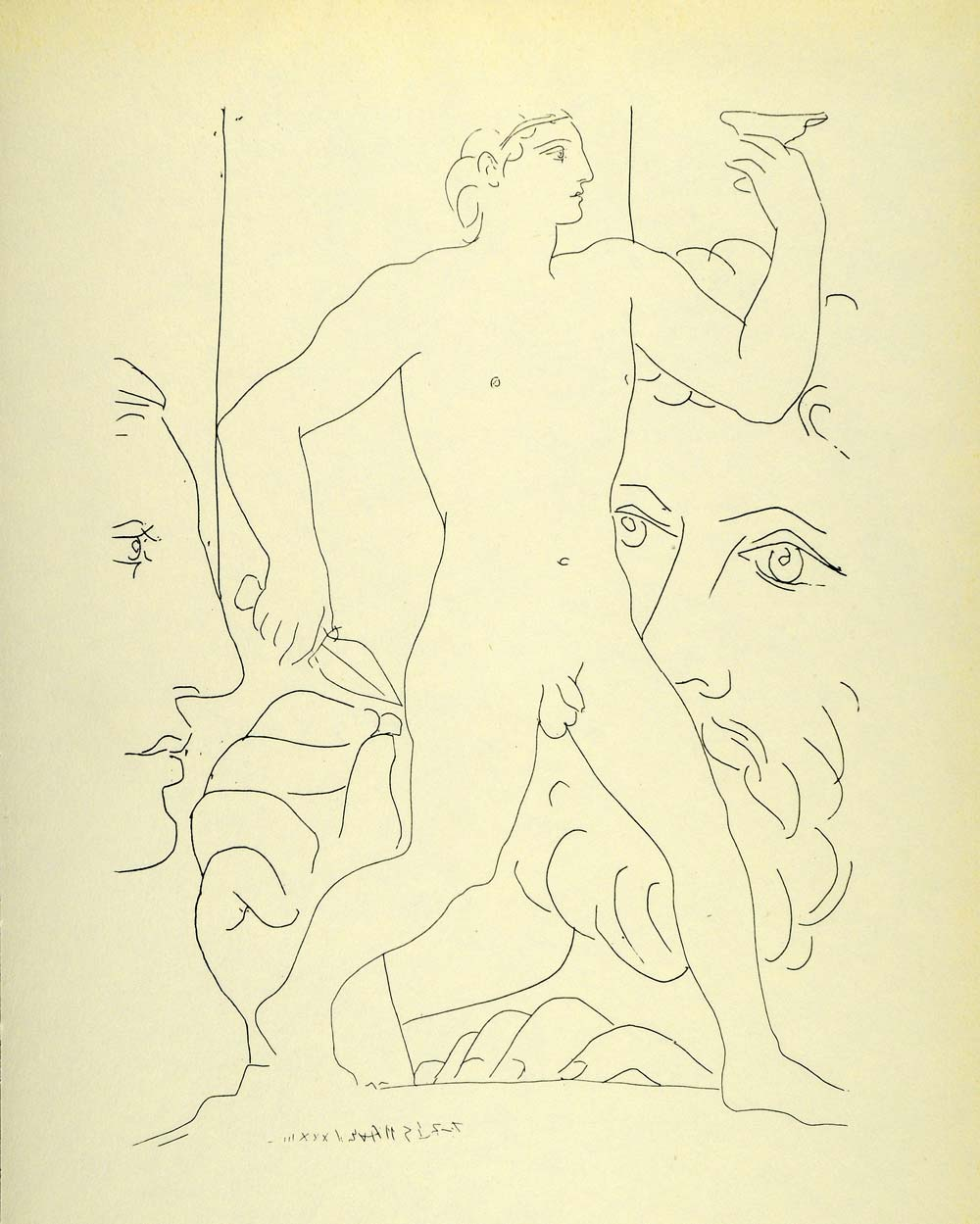 1956 Print Pablo Picasso Heads Sculptor Model Statue Striding Youth Nude Art