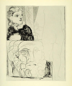 1956 Print Pablo Picasso Young Girl Nude Figure Male Head Suite Vollard Abstract - Period Paper