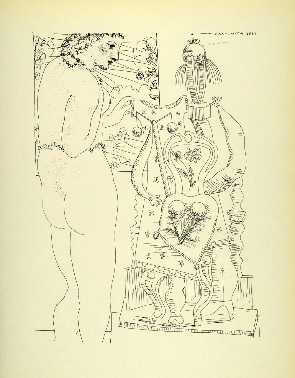 1956 Print Pablo Picasso Nude Model Surrealist Sculpture Abstract Modern Art