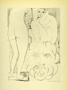 1956 Print Pablo Picasso Crouching Model Nude Female Sculptured Head Modern Art