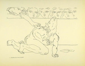 1956 Print Pablo Picasso Dying Minotaur Arena Mythical Beast Mythological Art