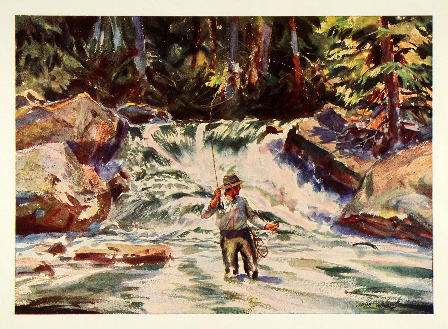 1945 Print Maine Trout Water Fly Fishing Fisherman John Whorf Watercolor XAA5