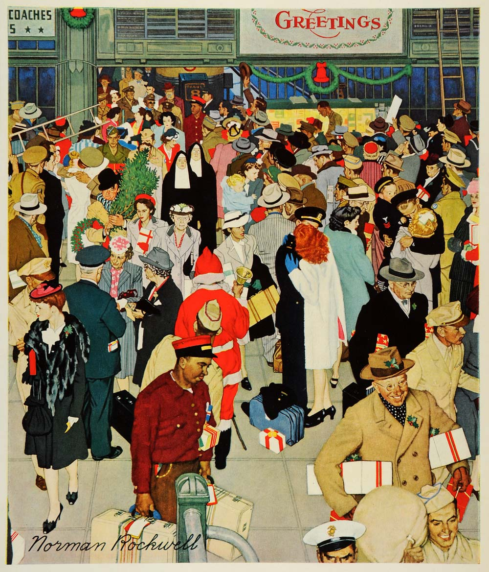 1945 Print Norman Rockwell Chicago Christmas Shoppers Shopping WWII ...