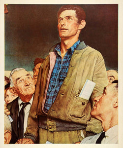 1945 Print Norman Rockwell Vermont Man Freedom of Speech Open Forum Oil XAA5