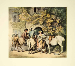 1952 Offset Lithograph Travellers Door Mansion Thomas Rowlandson Horse Art XAAA5