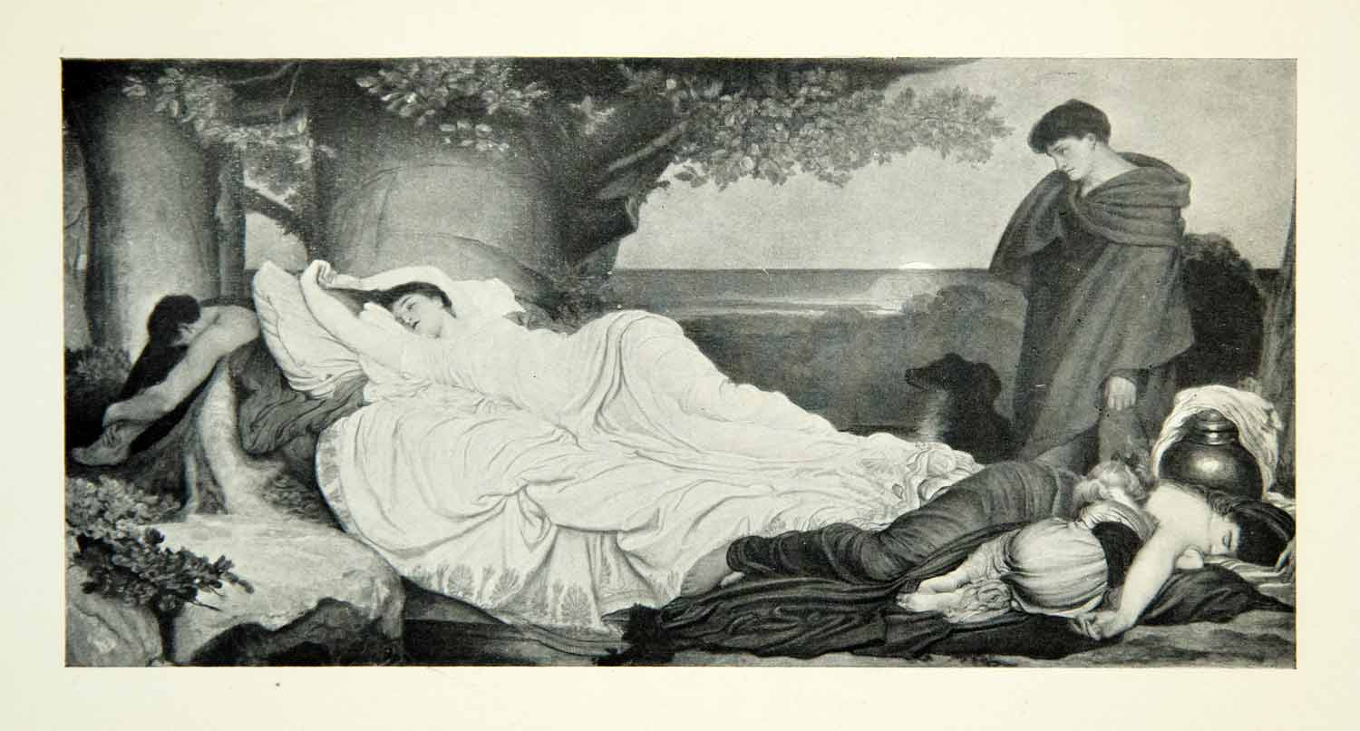 1906 Print Sir Frederick Leighton Cymon Iphigenia Sleeping Voyeur Love XABA1