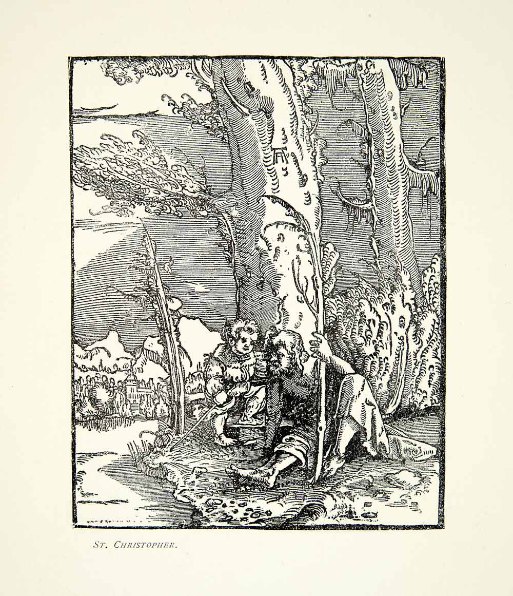 1901 Print Saint Christopher Baby Jesus Travel Landscape Bible Albrect XABA6
