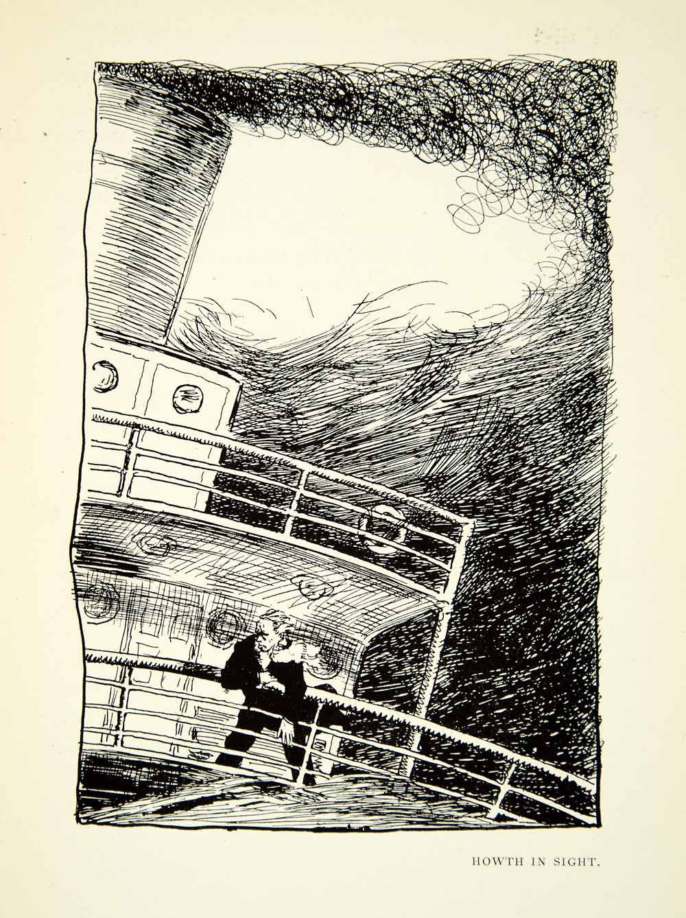 1925 Print Sir William Orpen Ireland Howth Travel Steam Ship Rail Channel XABA7 - Period Paper