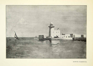 1925 Print Howth Harbor Dublin Ireland English Channel Lighthouse William XABA7