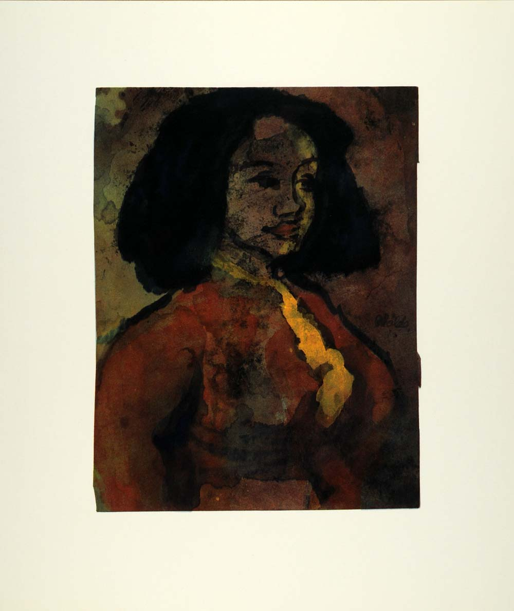 1965 Print German Art Emil Nolde Die Spanierin Spanish Spaniard Woman XAC4