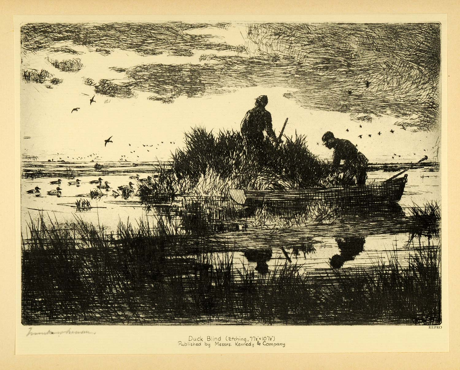 1931 Tipped-In Print Frank W. Benson Duck Blind Hunters Boat Hunting Rifle Gun