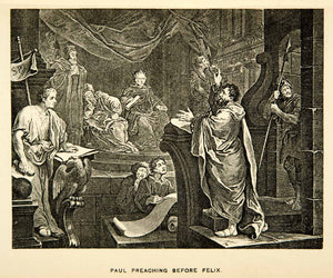 1883 Photolithograph William Hogarth Art Paul Preaching Felix Religion XACA2