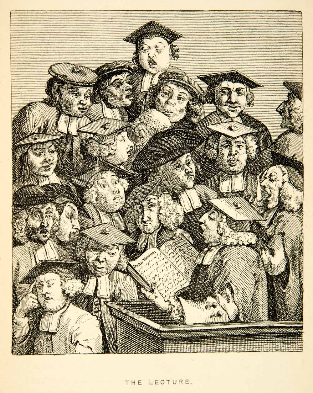 1883 Photolithograph William Hogarth Art Scholars Lecture Portrait Baroque XACA2