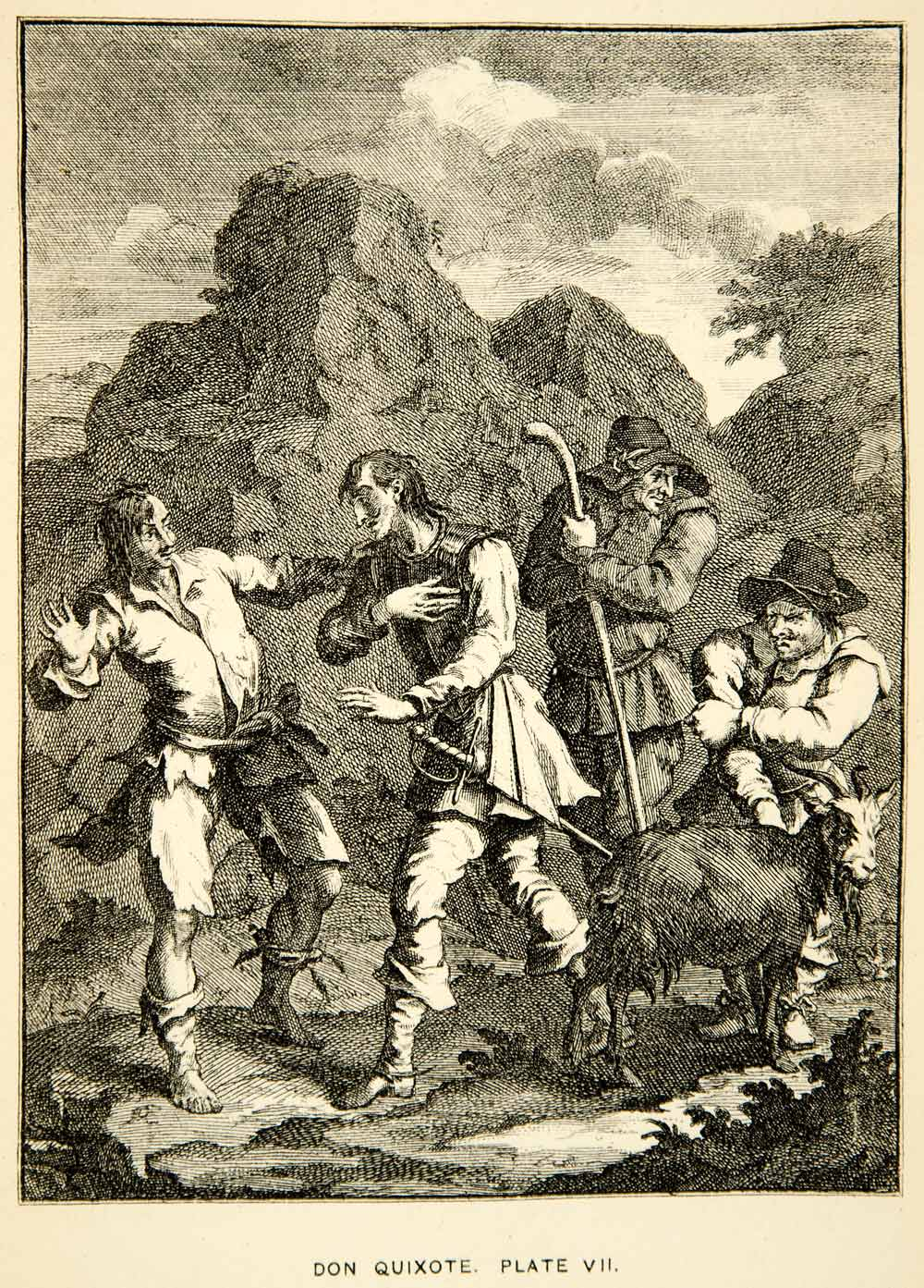 1883 Photolithograph William Hogarth Art Don Quixote Knight Rock XACA2