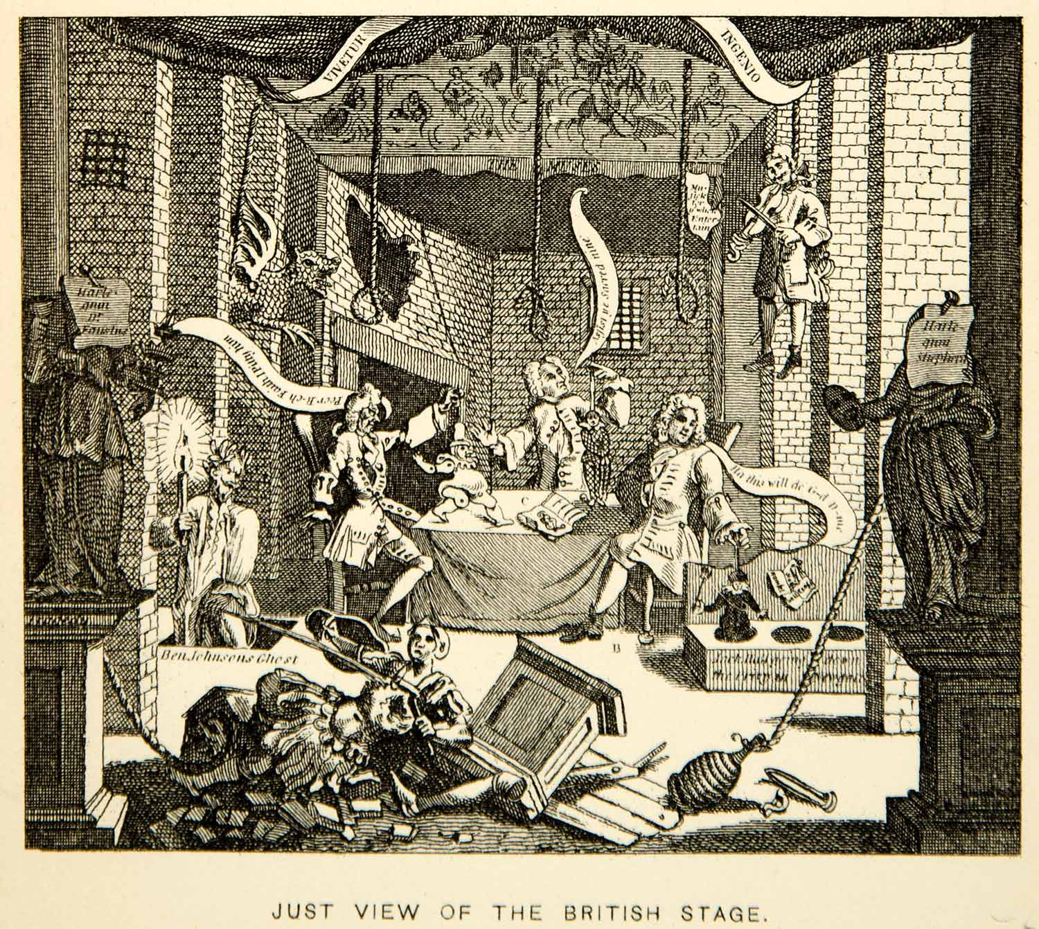 1883 Photolithograph William Hogarth Art Just View British Stage Theater XACA2