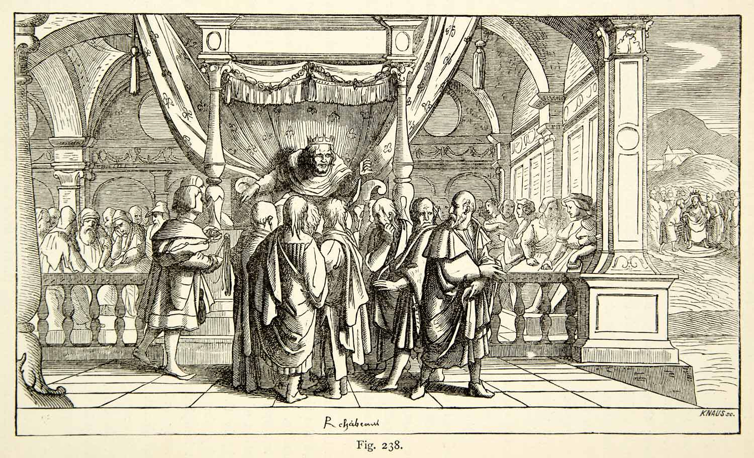 1888 Wood Engraving Rehoboam Hans Holbein Royalty Throne Interior King XACA9