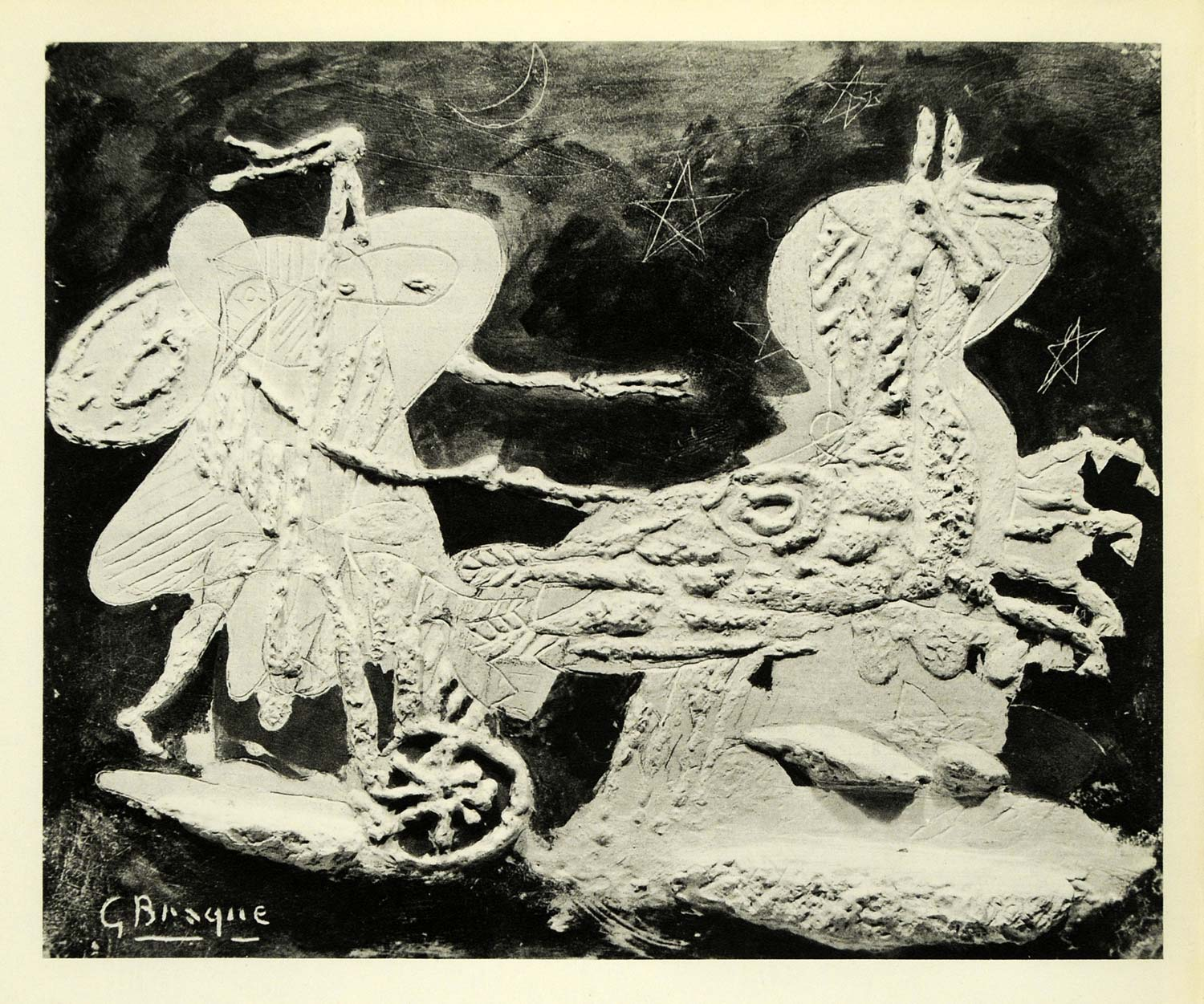 1956 Print Georges Braque Sun Chariot Horse French Modern Abstract Artwork XAD2