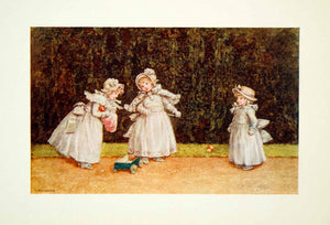 1905 Color Print Kate Greenaway Little Go-Cart Children Playing Regency XADA2