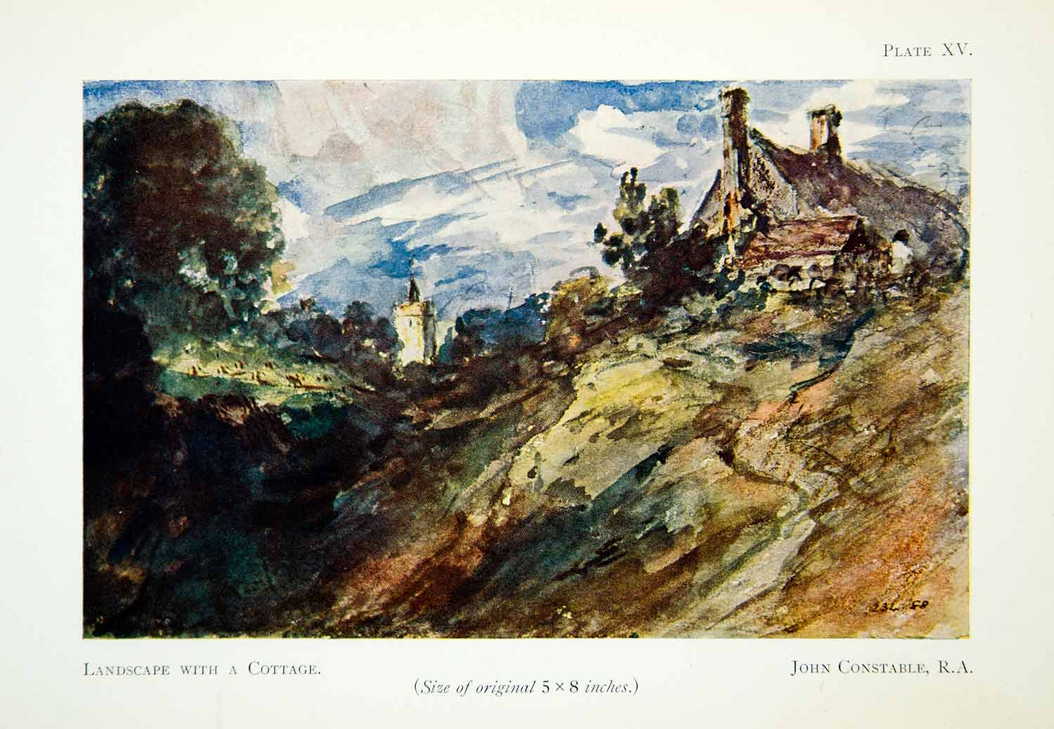 1929 Color Print Scenic Landscape Cottage John Constable Scenery Nature XADA5