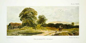 1929 Color Print English Landscape Pieter De Wint Tree Cottage Horseback XADA5