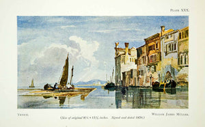 1929 Color Print Venice Italy Sail Boat Canal River Cityscape William XADA5