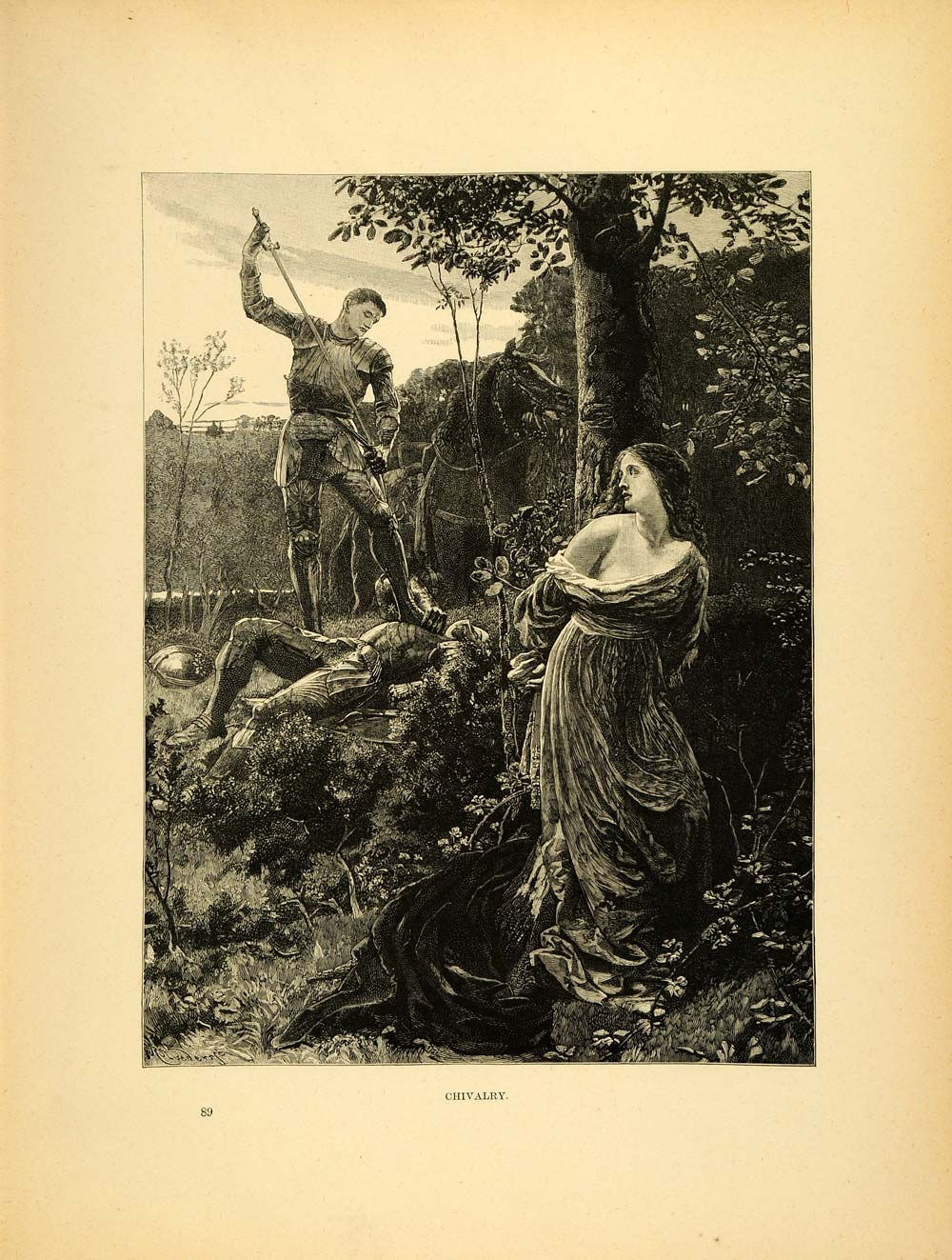 1887 Wood Engraving Chivalry Armor Death Frank Dicksee Warrior Forest Art XAE1
