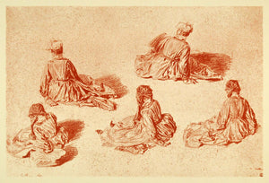 1895 Print Jean Antoine Watteau Sketch Art Seated Women Study British XAE4