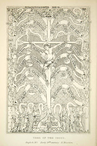 1872 Photolithograph Tree Cross Jesus Christ Crucifixion Medieval XAEA1
