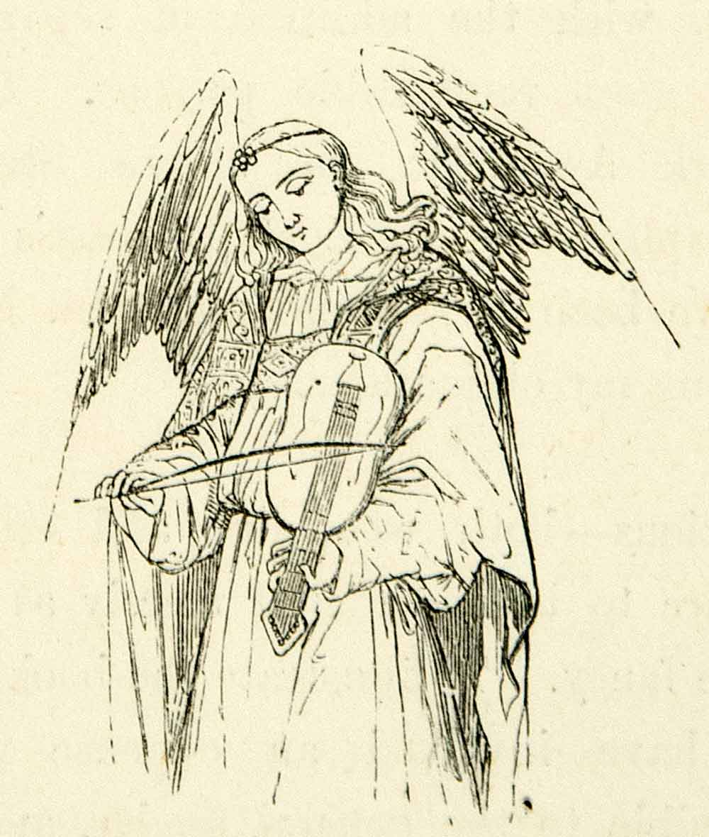 1872 Print Angel Wings Stringed Instrument Violin Bow Robe Music Religious XAEA2
