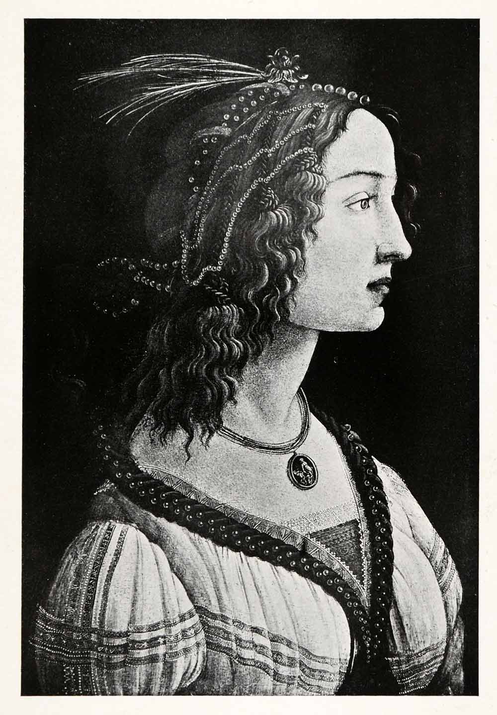 1903 Print Alessandro Botticelli Art Woman Side Portrait Historic Fashion XAF1