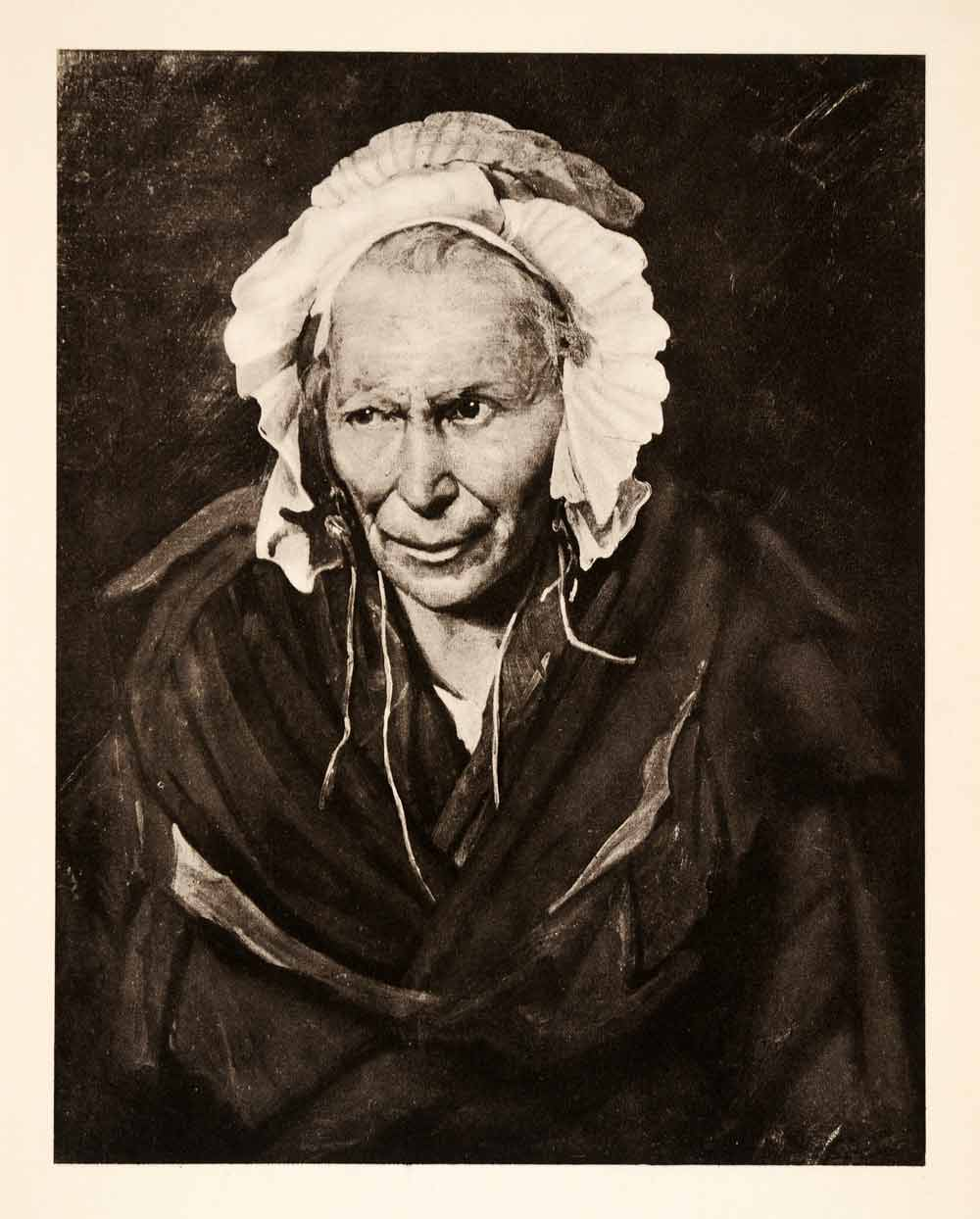 1936 Photolithograph Theodore Gericault Mad Woman Portrait Old Bonnet Lady  XAF5