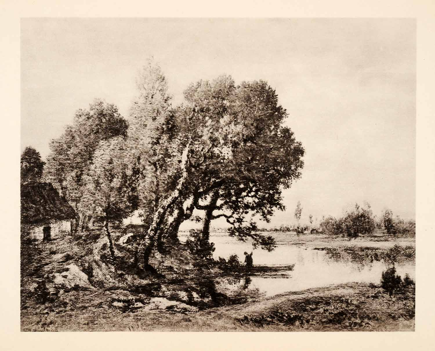 1936 Photolithograph Theodore Rousseau Landscape River Tree Marsh Stream  XAF5