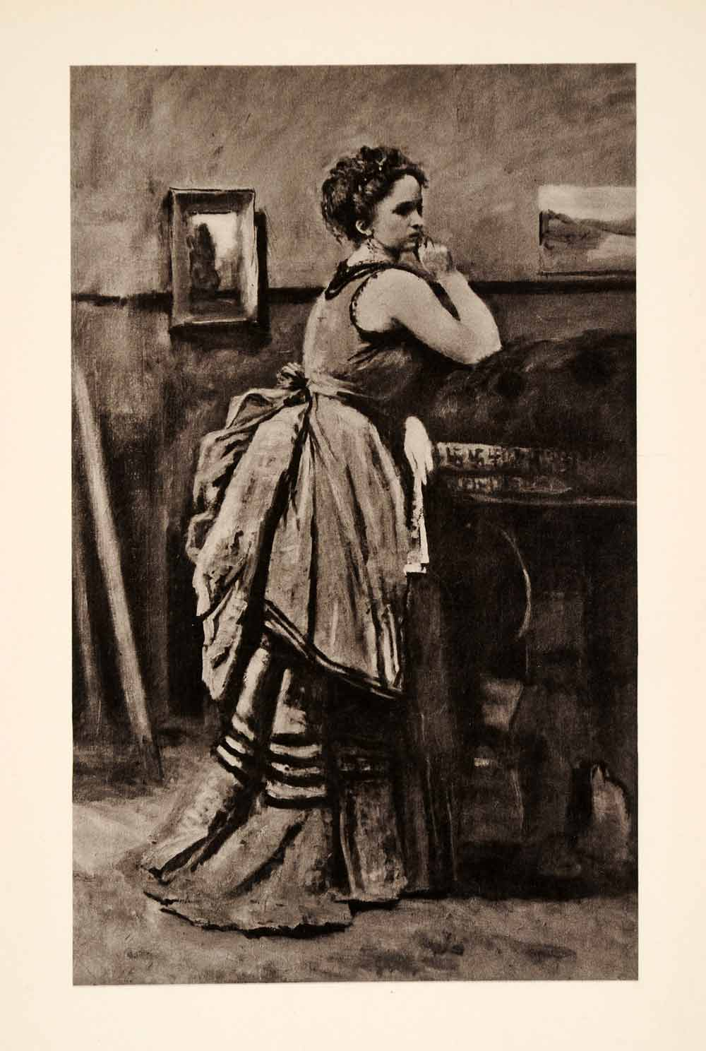 1936 Photolithograph Corot Jean Woman Dress Blue Formal Lady Thinking XAF5