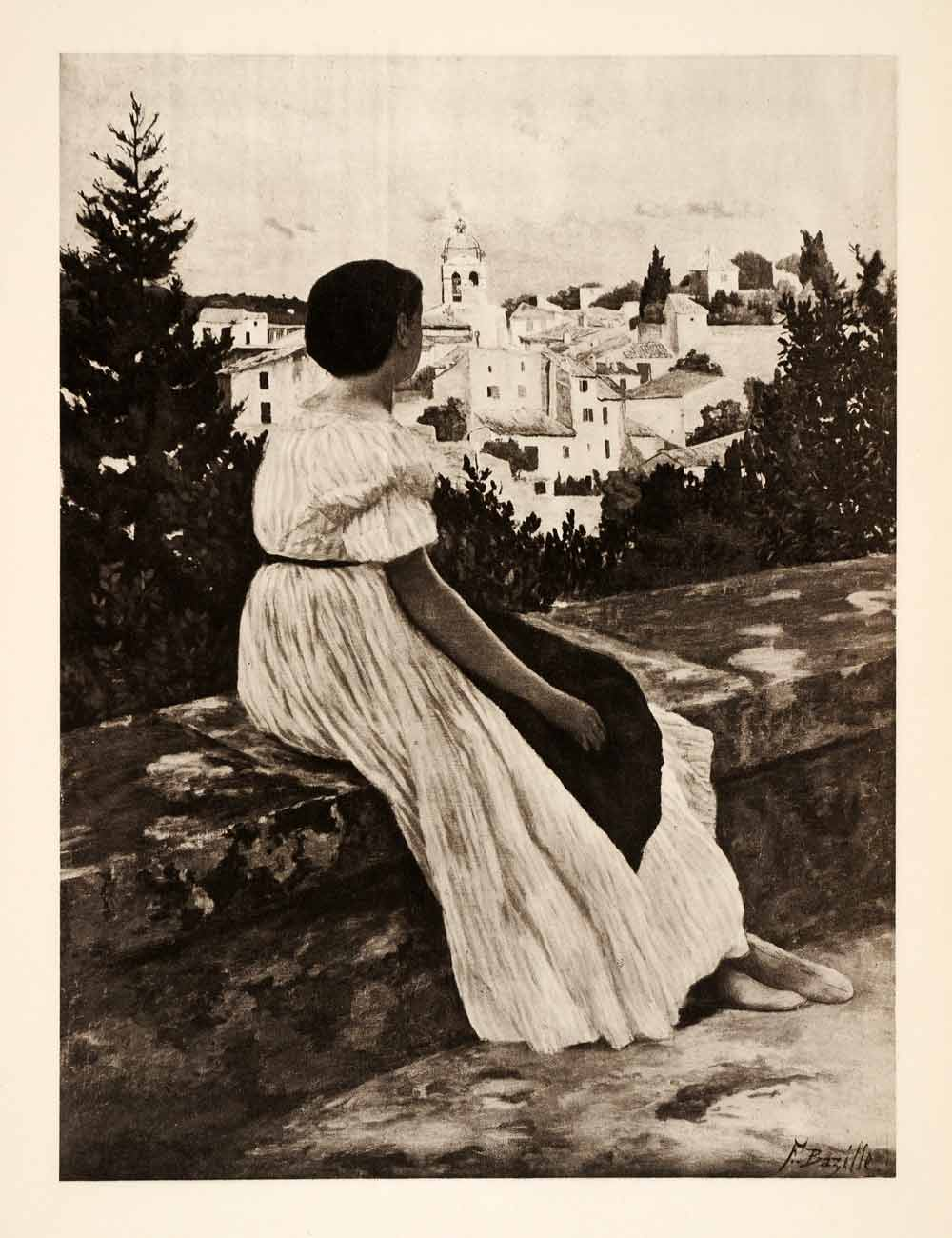 1936 Photolithograph Jean Frederic Bazille Pink Dress Woman City Street XAF5