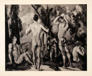 1936 Photolithograph Paul Cezanne Bathers Men Women Nude Cleaning Washing XAF5