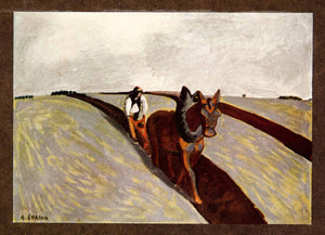 1914 Print Laborer Auguste Chabaud Horse Plow Agriculture Post XAFA2