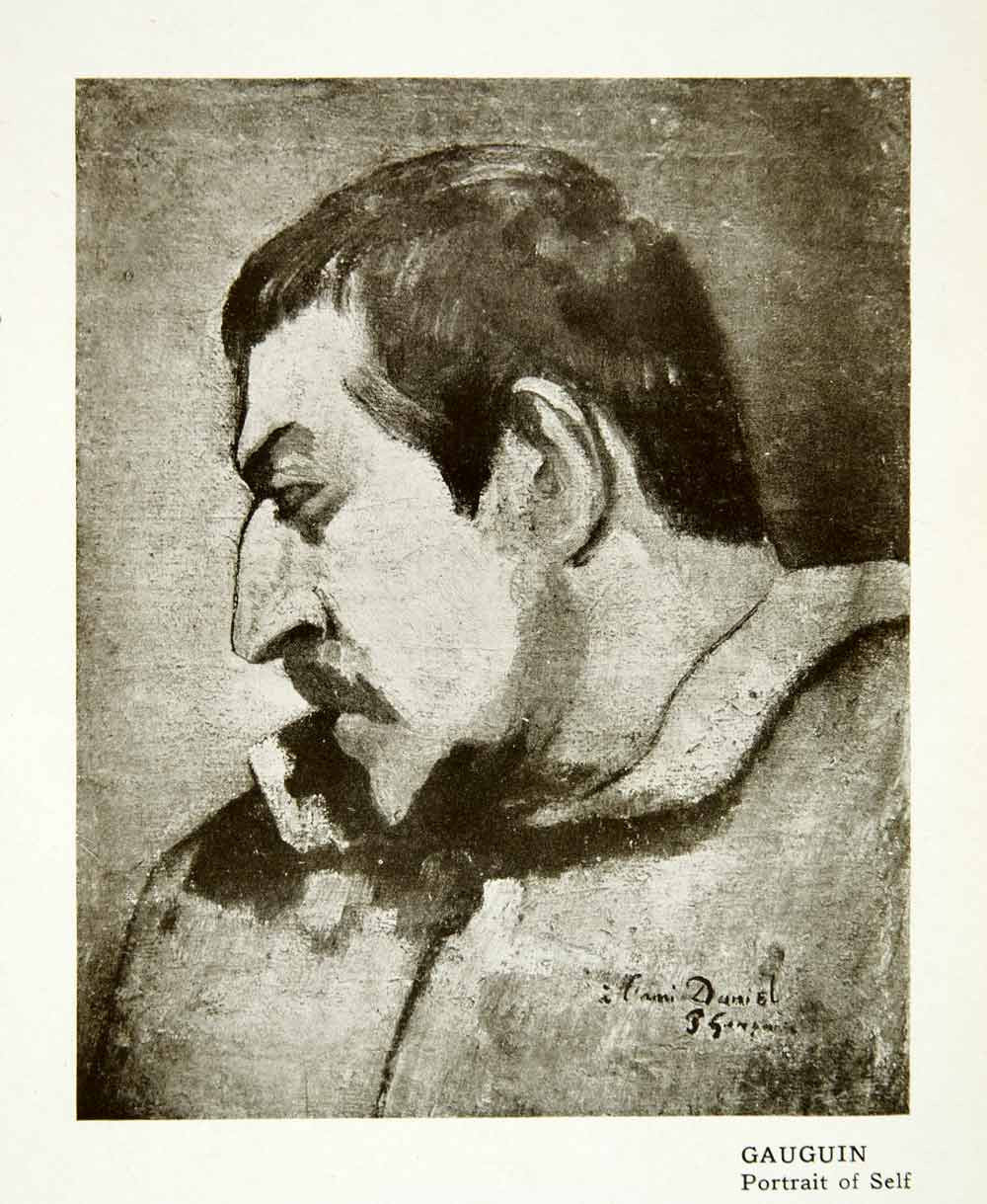 1914 Print Portrait Self Paul Gauguin Nose Head Face Gaze Model Famous XAFA2
