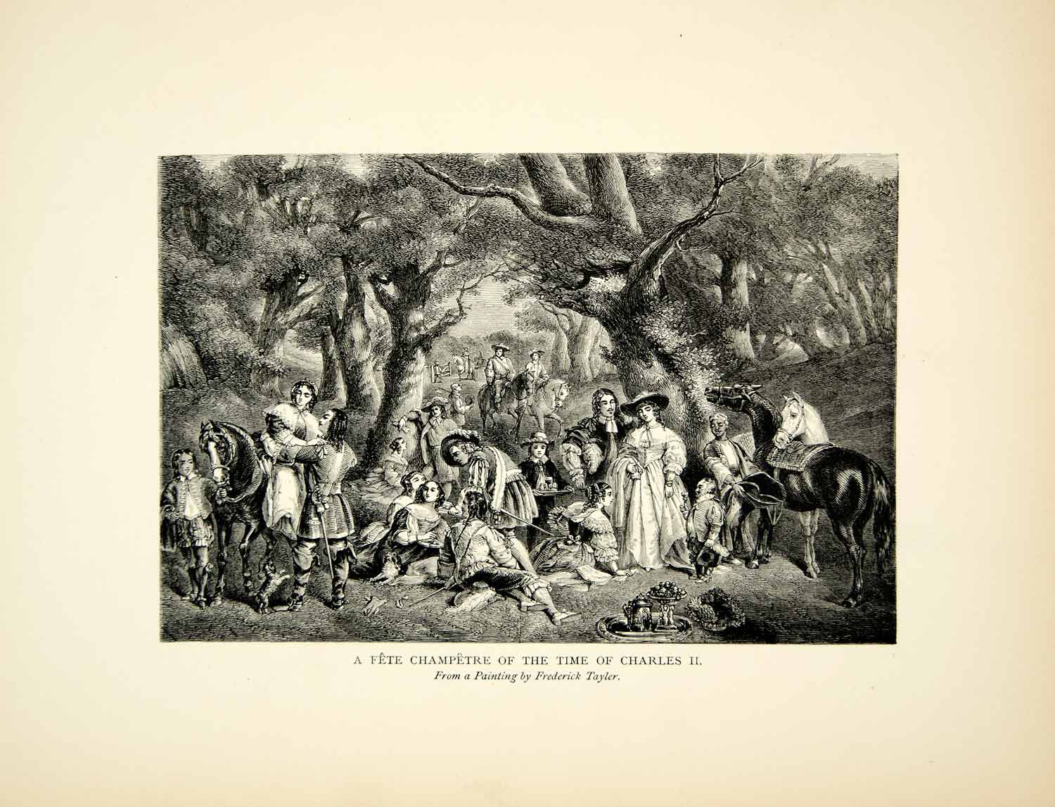 1901 Wood Engraving Frederick Taylor Art Fete Champetre Garden Party XAFA8