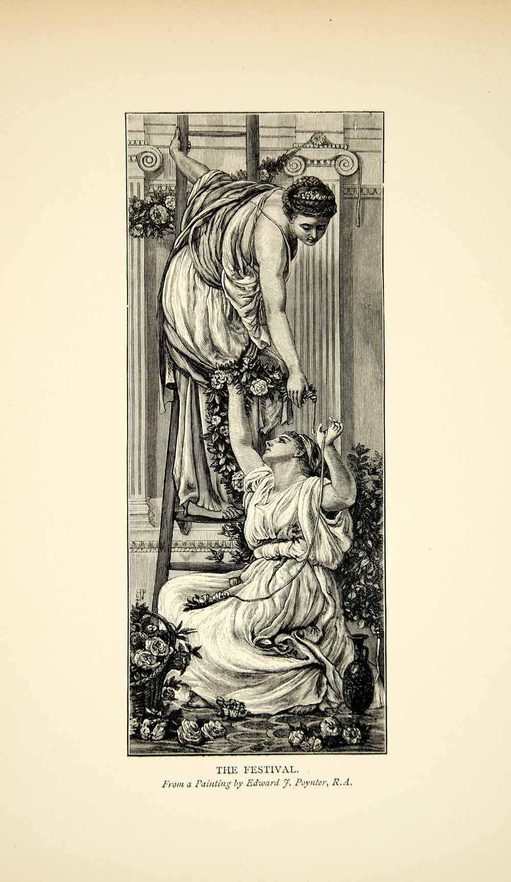 1901 Wood Engraving Edward Poynter Art Festival Ancient Rome Flowers XAFA8