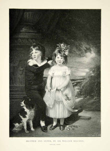 1902 Wood Engraving William Beechey Art Brother Sister Dog Pet Children XAFA9