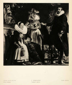 1939 Photogravure Jacob Jordaens Family Group Portrait Father Mother Child XAG5