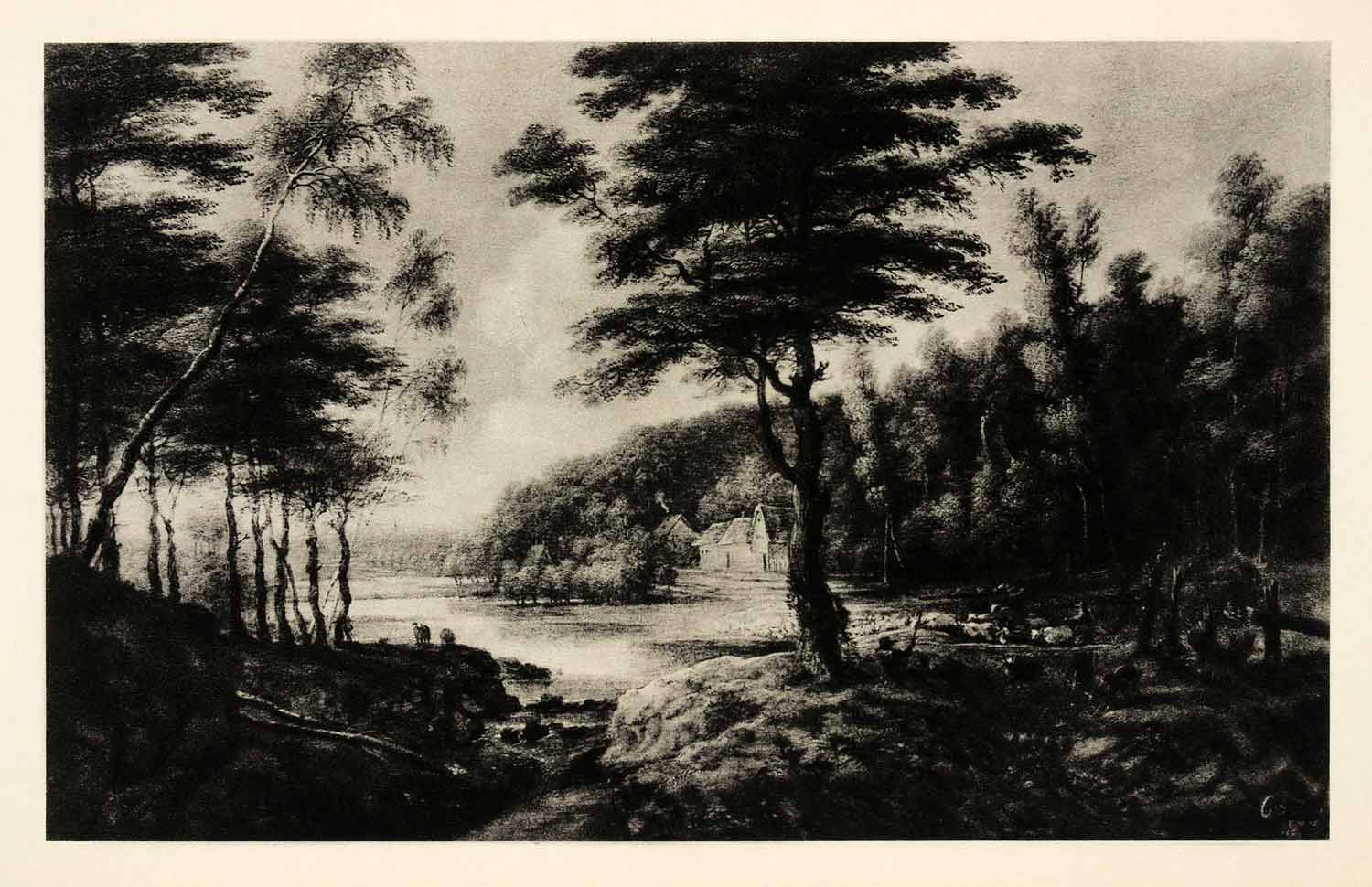 1939 Photogravure Lucas Van Uden Landscape Lake Forest Tree River Stream XAG5