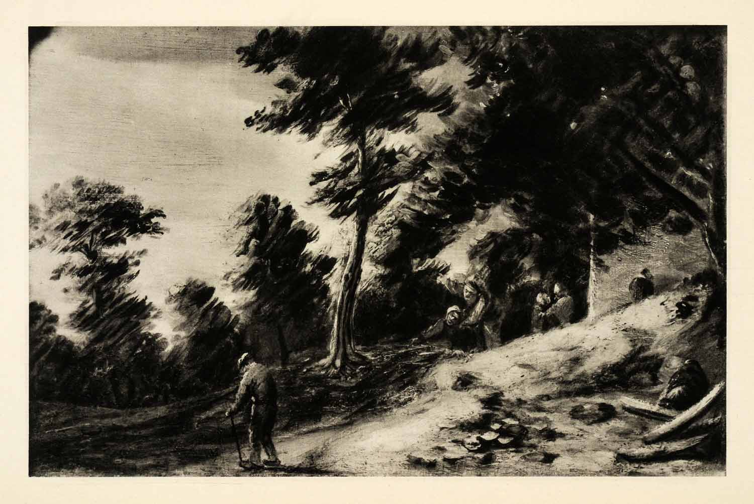 1939 Photogravure Adriaen Brouwer Landscape Forest Woods Peasants Valley XAG5