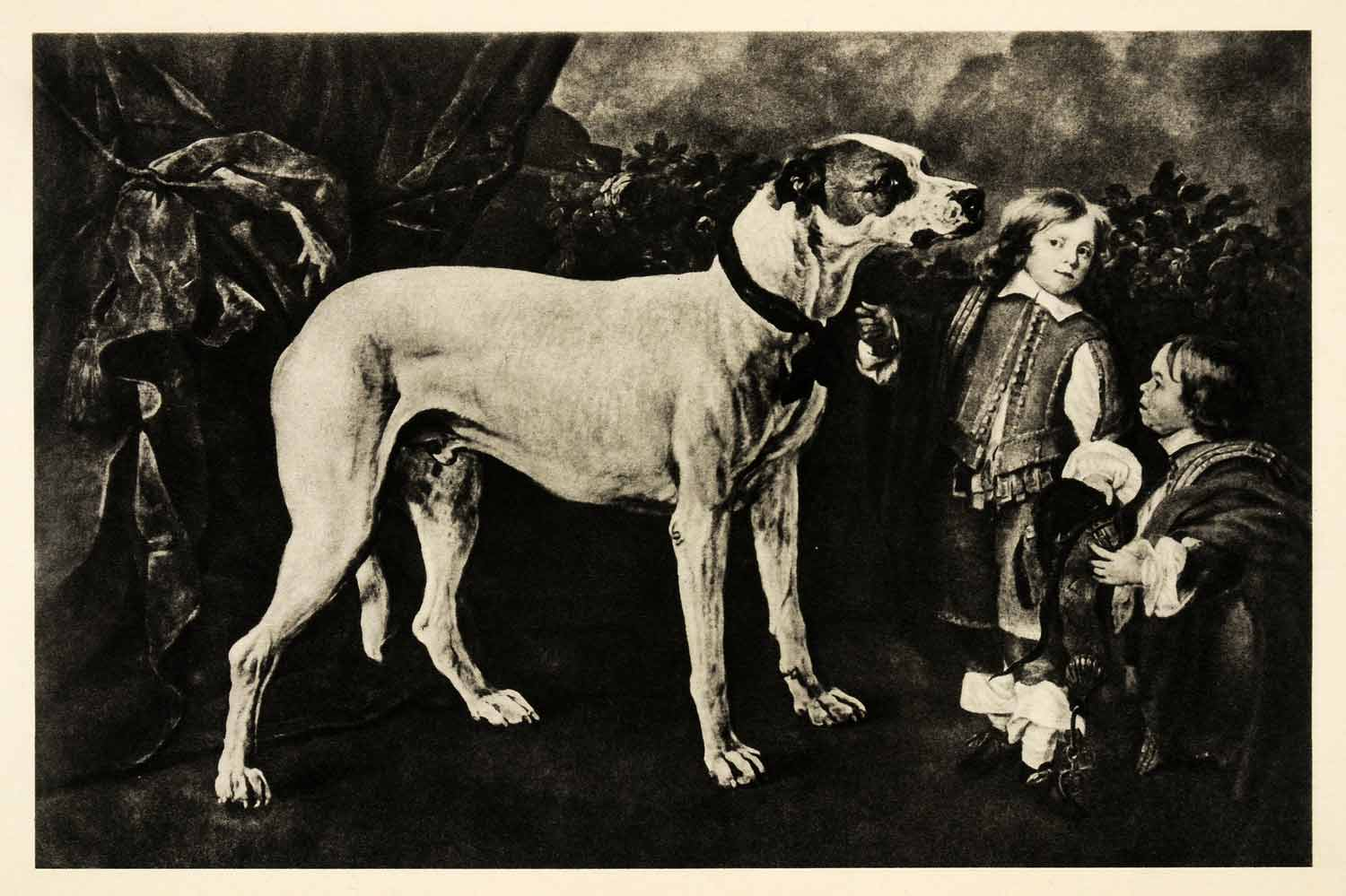 1939 Photogravure Jan Fyt Big Dog Dwarf Boy Child Pet Animal Canine Pet XAG5