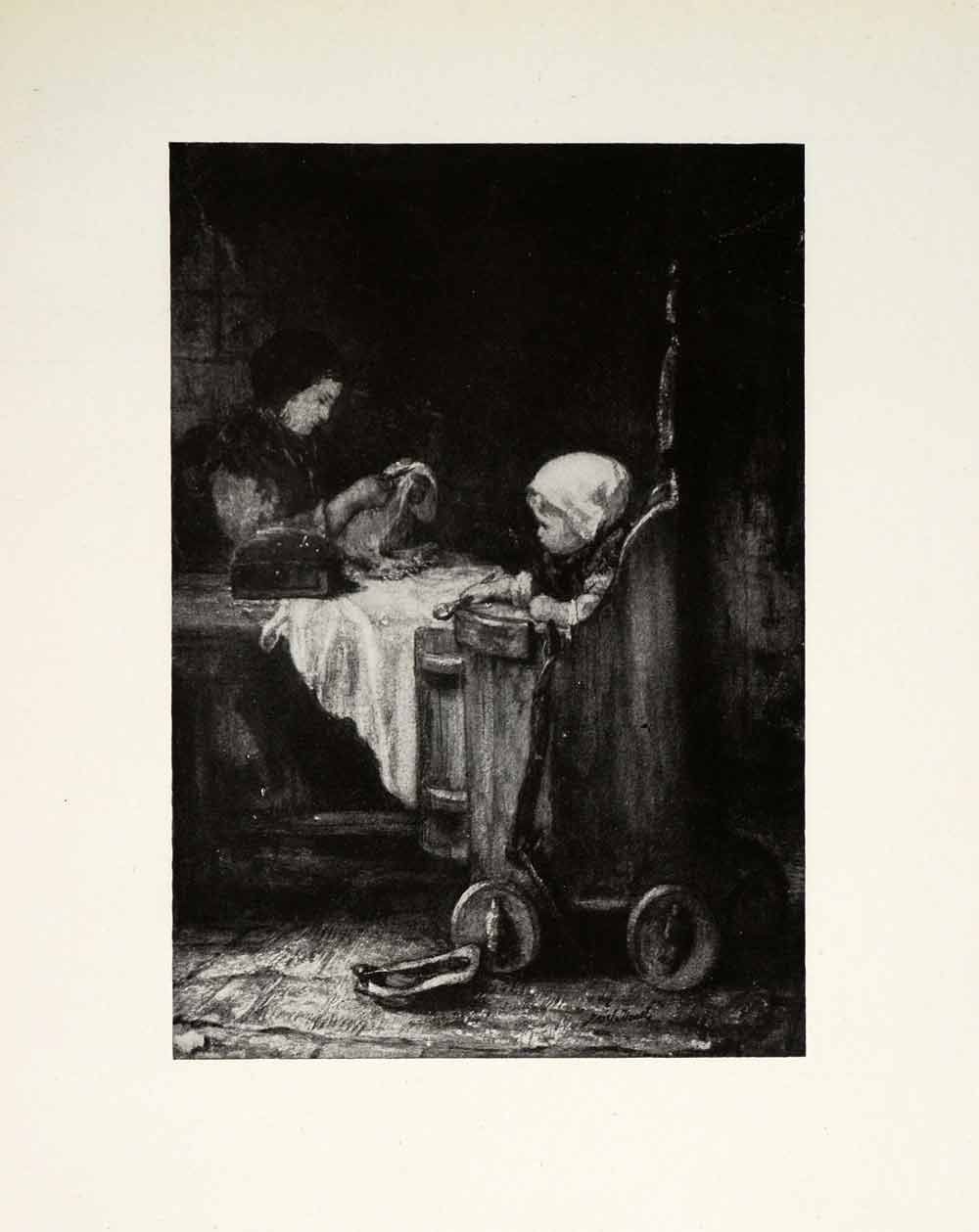 1924 Print Industrious Mother Josef Israels Dutch Painter Woman Sewing XAG7